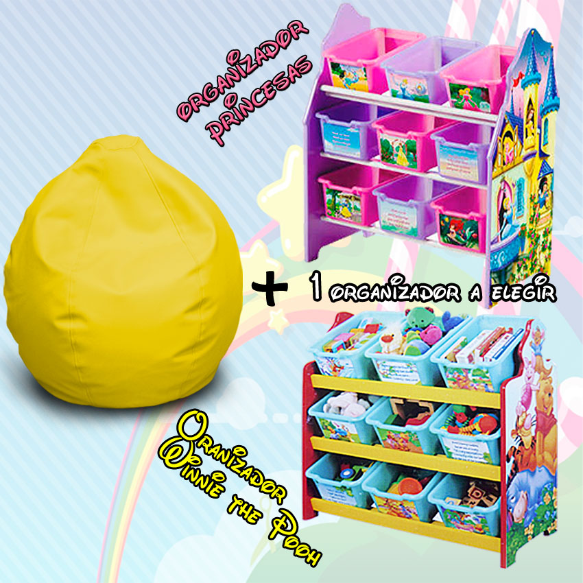 pack duo puff infantil ideal pack puff infantil ideal organizador de juguetes disney