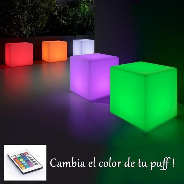 Puff cuadrado con luz